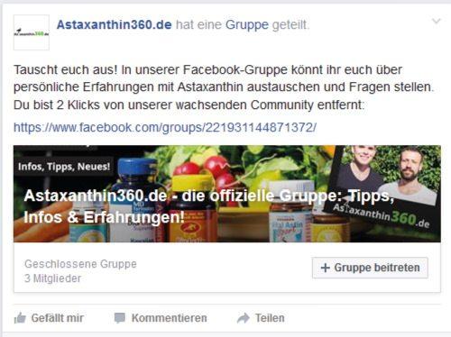 Link zur Astaxanthin Facebook Gruppe.
