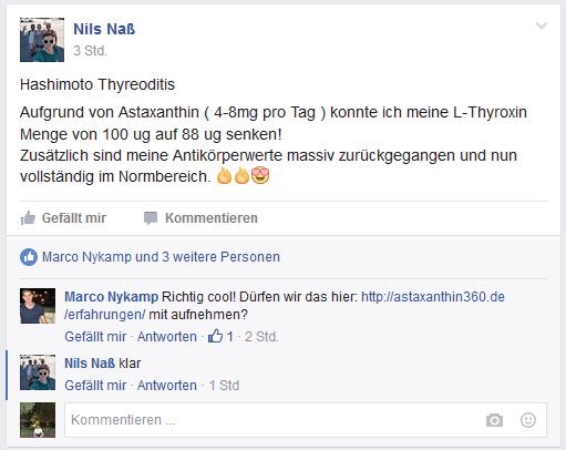 Erfahrung von Nils Naß zu Hashimoto und Astaxanthin