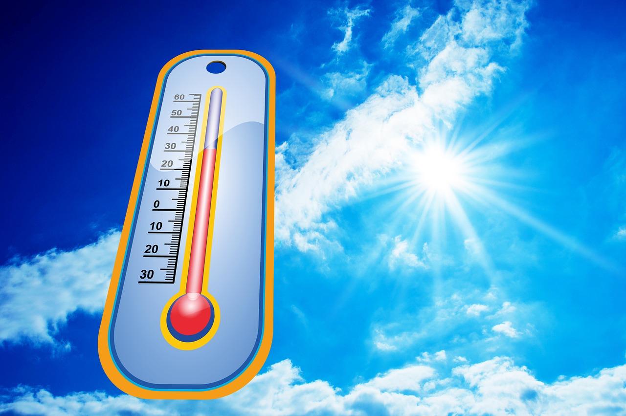 Thermometer und Sonnenstrahlen